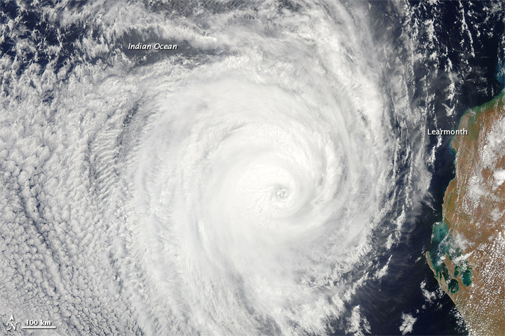 Cyclone near on the west coast of Australia