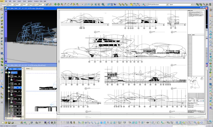 Complex structural design drawings